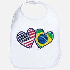 USA Brazil Heart Flags Bib