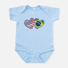 USA Brazil Heart Flags Body Suit