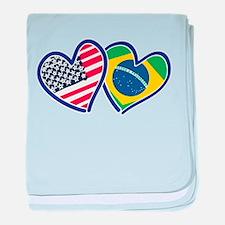 USA Brazil Heart Flags baby blanket
