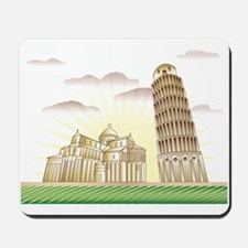 World famous Leaning tower of Pisa sight Mousepad
