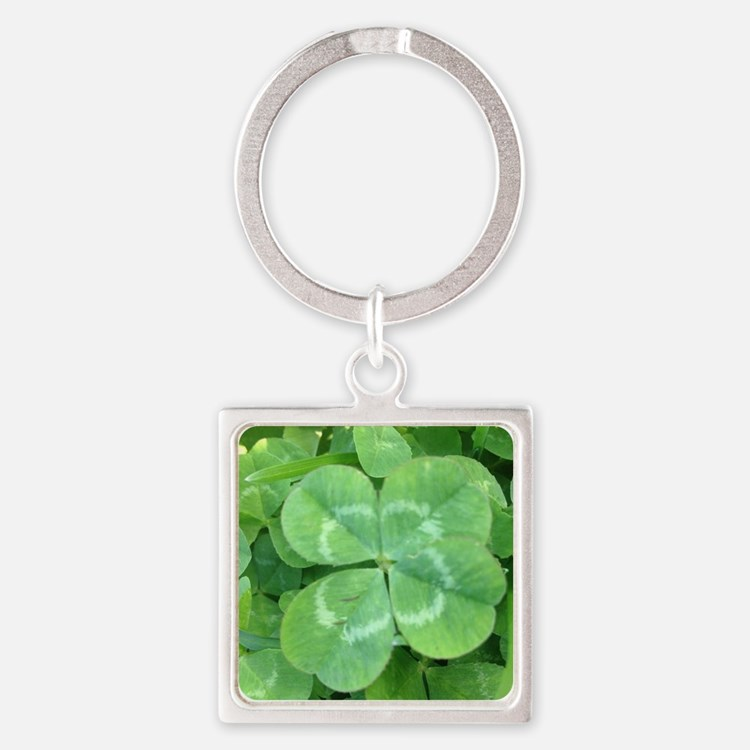 Cute Four leaf clover Square Keychain