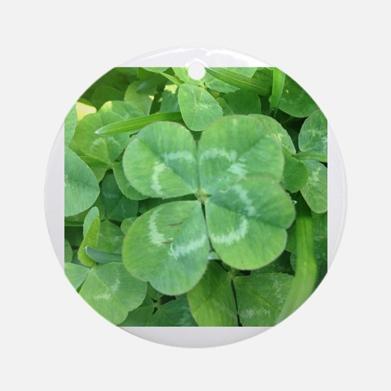 Cute Four leaf clover Round Ornament