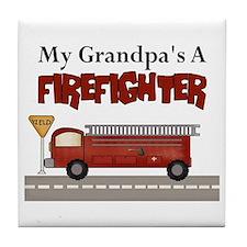 Grandpas A Firefighter Tile Coaster