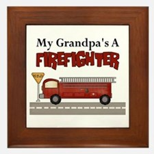 Grandpas A Firefighter Framed Tile