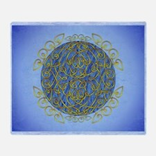 Blue and Gold Celtic Art Curls Throw Blanket