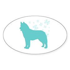 Husky Snowflake Oval Decal