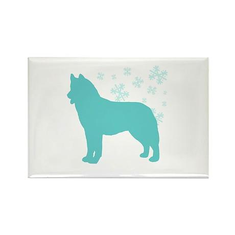 Husky Snowflake Rectangle Magnet (100 pack)