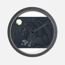 Dragon with teddy in moon light Wall Clock