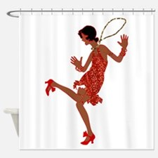 red sequin black flapper Shower Curtain
