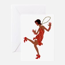 red sequin black flapper Greeting Cards