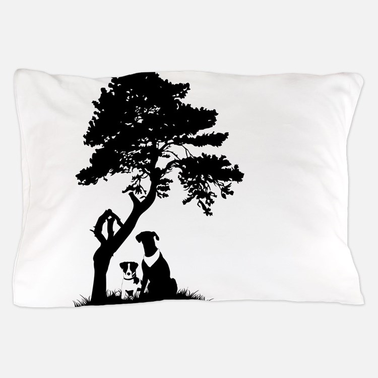 Tree and dogs landscape Pillow Case