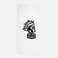 Dog and tree clip art Beach Towel