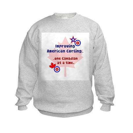 """""""US-CA Curling"""" Kids Sweatshirt"""