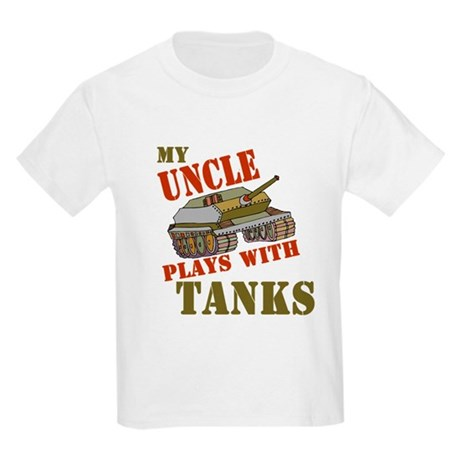 Uncle Plays with Tanks Kids Light T-Shirt