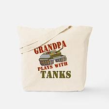Grandpa Plays with Tanks Tote Bag