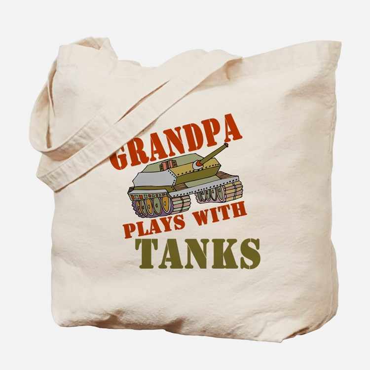 Grandpa Plays with Tanks Tote Bag