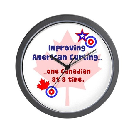 """US-CA Curling"" Wall Clock"