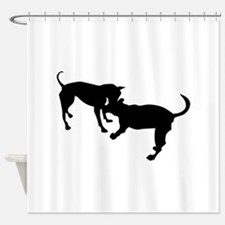 dogs fight silhouette Shower Curtain