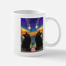 Black Cat Wish Upon A Star Mugs