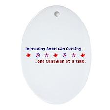 """US-CA Curling"" Oval Ornament"