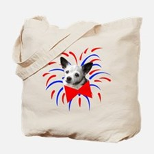 Cute Dog With Fireworks Tote Bag
