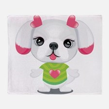 Baby dog with love heart Throw Blanket