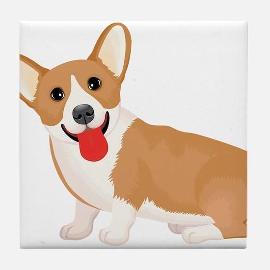 Pembroke welsh corgi dog showing tong Tile Coaster
