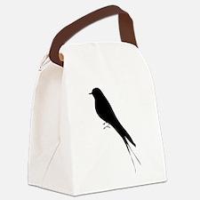 Bird stand tree vine silhouette c Canvas Lunch Bag
