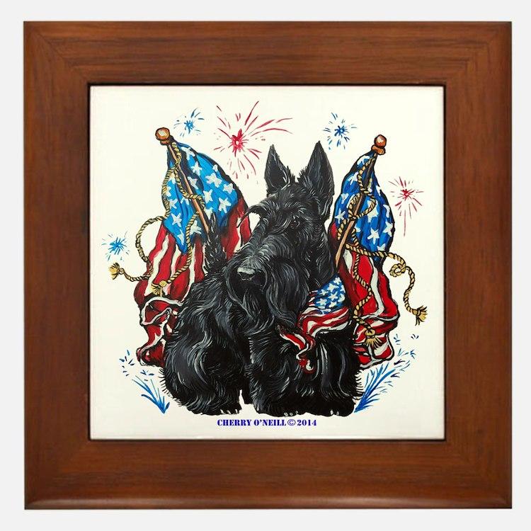 All American Scottie Framed Tile