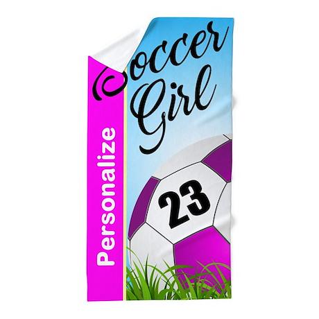 Soccer Girl Custom Beach Towel