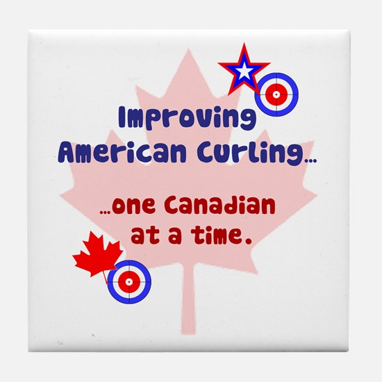 """US-CA Curling"" Tile Coaster"