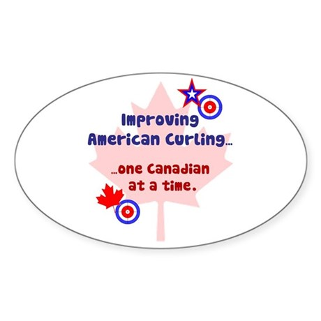 """US-CA Curling"" Oval Sticker"