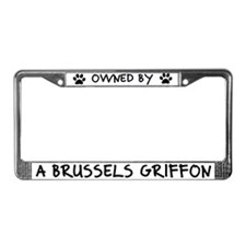 Owned by a Brussels Griffon License Plate Frame