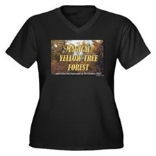 Magical Yellow Tree Forest Women's Plus Size V-Nec