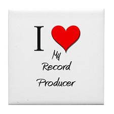 I Love My Record Producer Tile Coaster