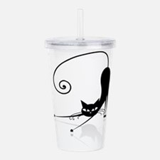 Funny black cat design Acrylic Double-wall Tumbler