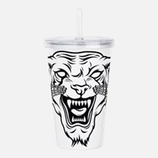 Angry tiger silhouette Acrylic Double-wall Tumbler