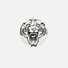 Angry tiger silhouette head Mini Button (10 pack)