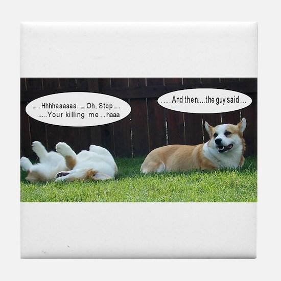 Laughing Corgis Tile Coaster