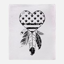 American Dreamcatcher Heart Throw Blanket