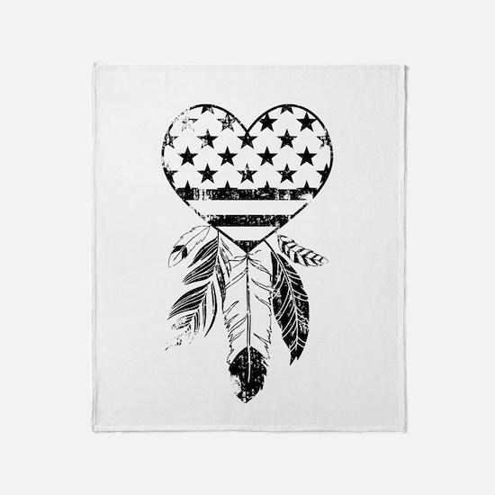 American Dreamcatcher Heart Throw Blanket