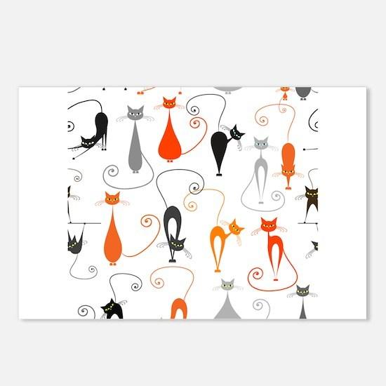 Cartoon cat seamless patt Postcards (Package of 8)