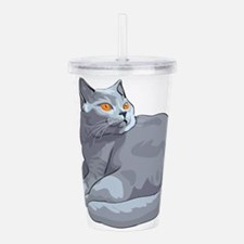 Wild cat sitting Acrylic Double-wall Tumbler