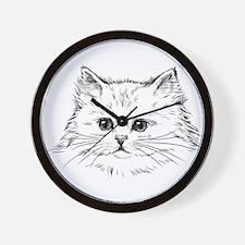 Hand drawn cats head set Wall Clock