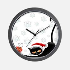 Christmas funny cats Wall Clock