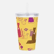 Cartoon cat background Acrylic Double-wall Tumbler