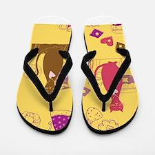Cartoon cat background Flip Flops