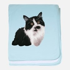 Cute black and white cat baby blanket