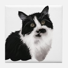 Cute black and white cat Tile Coaster
