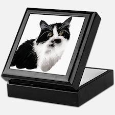 Cute black and white cat Keepsake Box